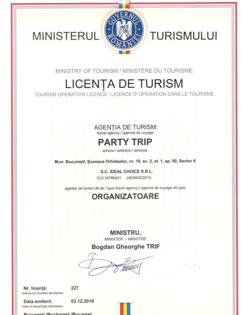 Licenta agentie PartyTrip organizatoare